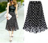 Online discount shop Australia - Chiffon polka dot skirt female black dots in the long waisted pleated skirt beach A