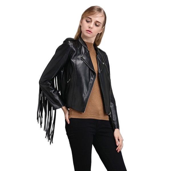 fringed faux PU leather tassels sleeve back zippers women Motorcycle Jacket coat black