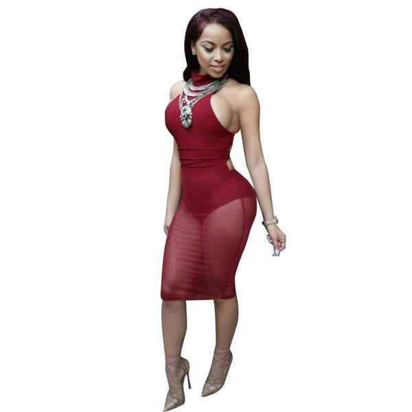 Summer Sexy red mesh dress bandage Dresses Sexy Club Dress backless bodycon Night Club Wear Party Dress Vestido De Festa