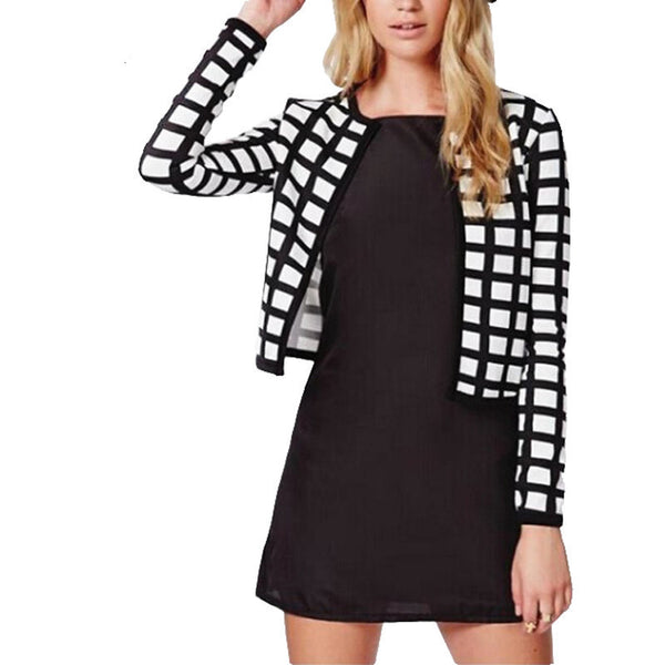 new white black check plaids print thin bomber women jacket cardigan