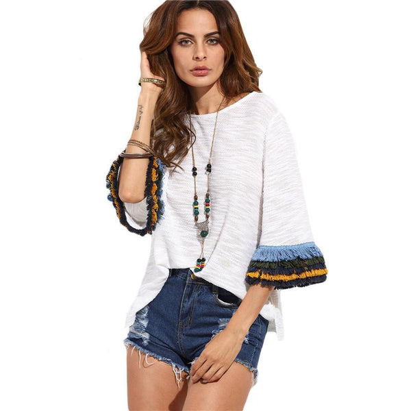 Womens Casual Clothing Tops Ladies Beige Fringe Cuff Round Neck Half Flare Sleeve