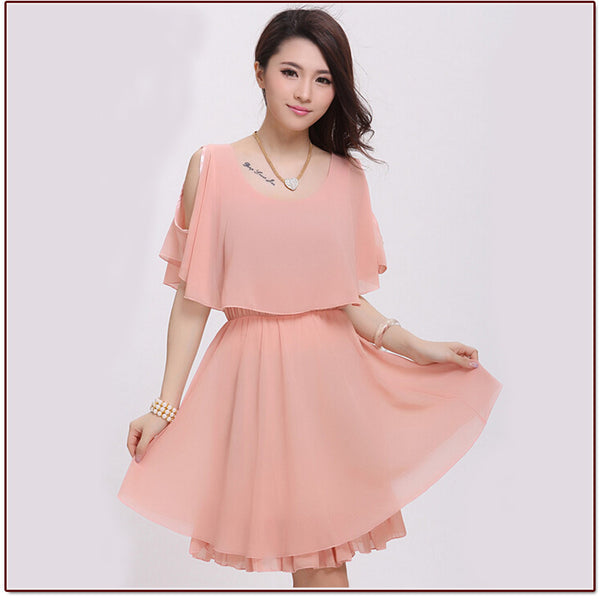 Women Summer Fashion Faux Tiwnset Styles Chiffon Casual Slim Dress Lady Girl 4 Color Black White vestidos
