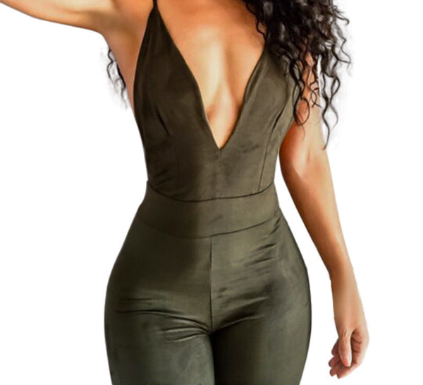 jumpsuit deep V neck Women sexy cross back strappy bodysuit overall bandage backless Jumpsuit green