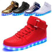 Size 32-46// USB unisex high top simulation flashing casual woman & men led shoes with light up luminous glowing shoes for adult