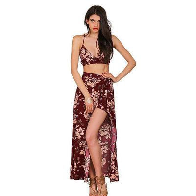 Two pieces set floral print women split long dress Summer boho sexy backless maxi dresses