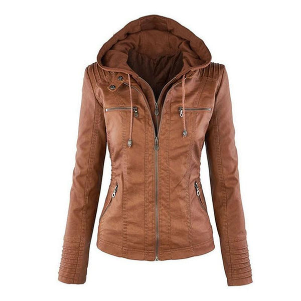 Women's Leather Jacket Coat Hoodies Hooded Lapel Zipper Detachable Leather Jacket Female