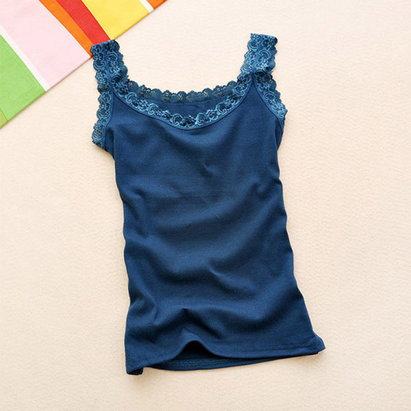 New Women Sleeveless Lace Sexy Tops Ladies Fashion Multicolors Strap Tank Vest 16 Colors