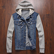 Online discount shop Australia - Men's fashion men's sportswear cowboy hoodies, hooded jacket removable hat denim jacket size M-4XL, 5XL