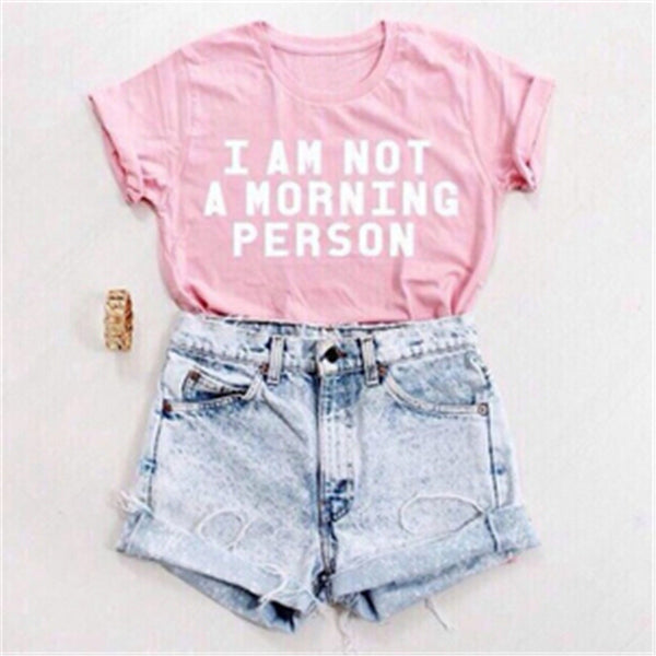 Online discount shop Australia - I AM NOT A MORNING PERSON Funny T Shirt Women Letter Print Tee Sexy  Short Sleeve T-Shirt  Casual Pink Tshirt