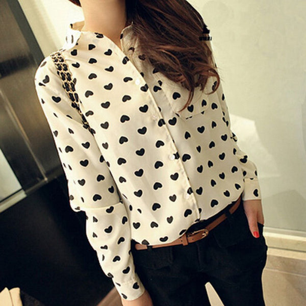 Women Chiffon Blouses Retro Vintage Button Down Blouse Heart Print Casual Shirt