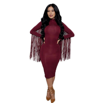 Women Sexy Back Fringe Tassel Long Sleeve Fitted Slim Bodycon Dress paragraph bandage party dress black