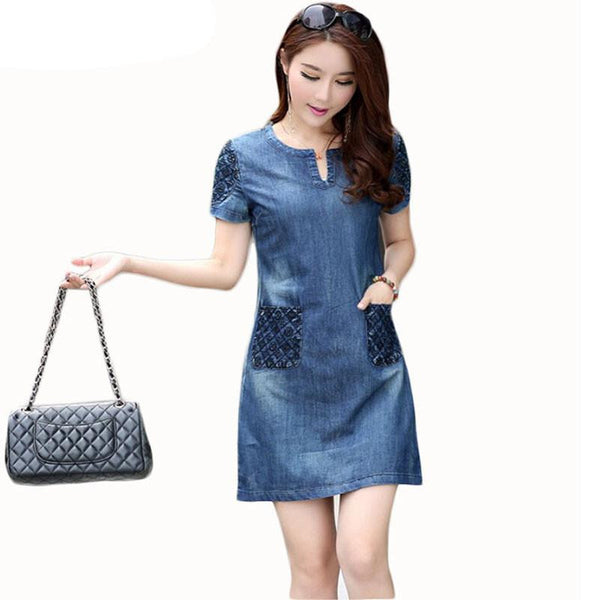 Summer Denim Dress Women Loose Fashion Jeans Lady Slim Short Sleeve Plus Size D56