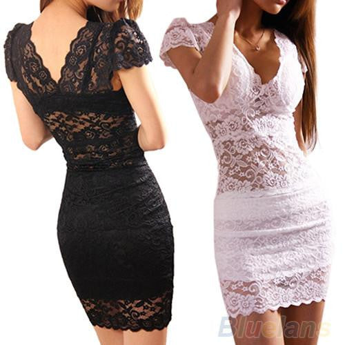 Sexy Women's Short Sleeve V Neck Lace Club Cocktail Party Slim Mini Dress 009W
