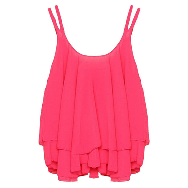 Online discount shop Australia - Casual Shirts Sleeveless Spaghetti Strap Sexy Chiffon Women Blouses Vest Tops