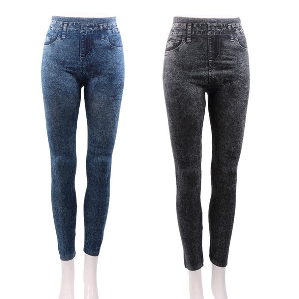 Women Stretch Denim Jean Look Skinny Leggings Slim Jeggings Pants Faux Denim Pencil Pants New