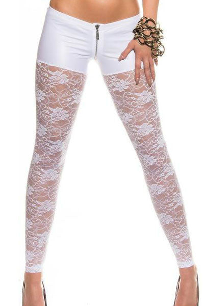 New Women's White Black Metallic Shorts Attached Sexy Lace Leggings LGY79880