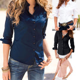Turn Down Collar Fashion Slim Long Sleeve Blouse Formal Ladies Office Shirts Black