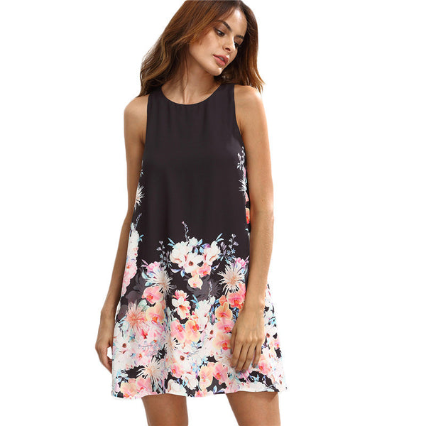 Online discount shop Australia - Casual Dresses For Women Summer Ladies Multicolor Floral Round Neck Sleeveless Cut Out Short Shift Dress