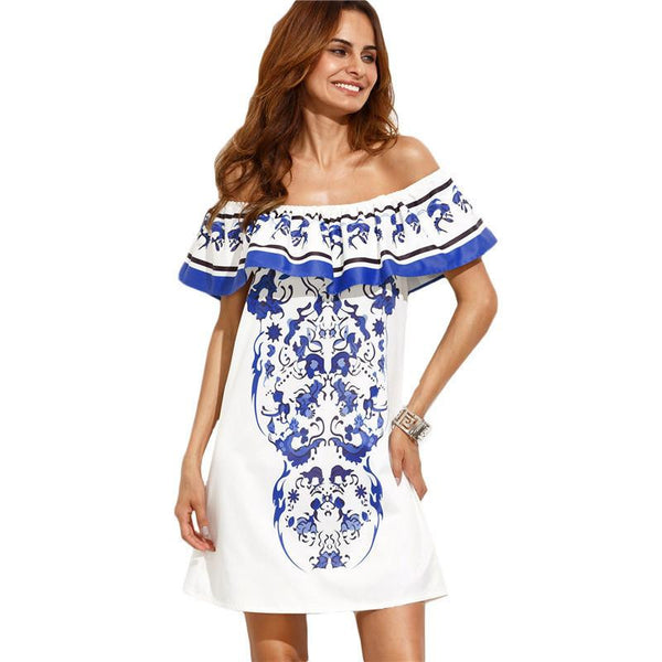 Summer Beach Dresses For Woman Style Ladies Multicolor Print Ruffle Off The Shoulder Shift Dress