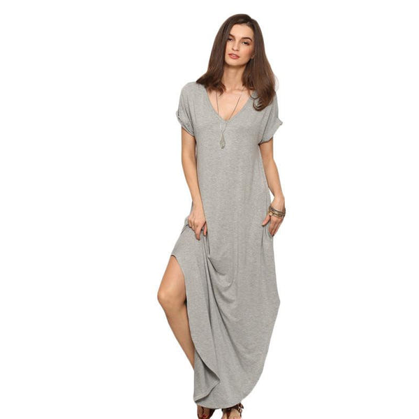 SheIn Women Summer Casual Shift Dresses Womens Plain Grey V Neck Short Sleeve Rolled-cuff Pockets Split Maxi Dress