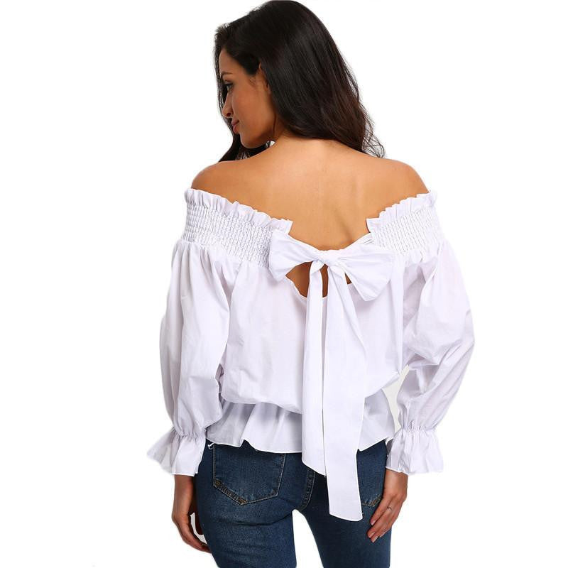 1694fe3b7d SheIn Fashion Clothing Casual Tops For Women Plain White Off The Shoulder  Bow Back Long Sleeve