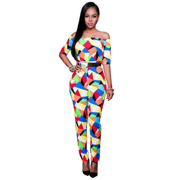 Sexy Elegant Playsuits And Jumpsuits Slash Neck Bodysuit Geometric Print Women Off Shoulder Bodycon Jumpsuit Romper