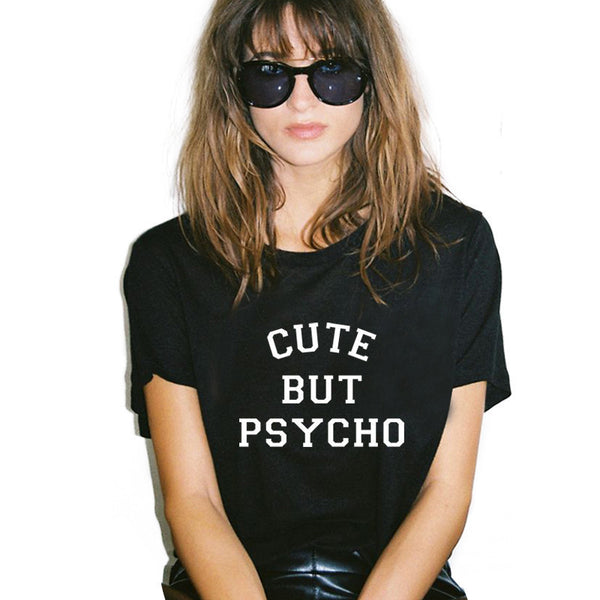 Online discount shop Australia - Harajuku T Shirt Women Tops Punk cute but psycho Letter Print Tee Shirt   Casual tshirt O-neck rock Tumblr XL