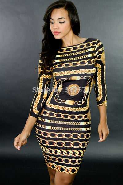 Online discount shop Australia - Dress Retro Chains Printed Vestidos Celebrity Brand Sexy Club Bandage Party Dress