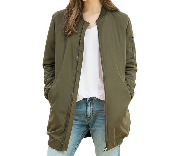 Online discount shop Australia - long jackets and coats female coat casual long section of solid color bomber jacket women