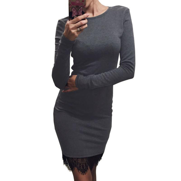 Online discount shop Australia - Kaywide Lace Patchwork Women Dress O Neck Casual Bodycon Party dresses With Tassel Plus Size Long Sleeve Ladis Dress Vestidos