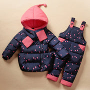 Online discount shop Australia - Children's Clothing Set Kids Ski Suit Overalls Baby Girls Down Coat Warm Snowsuits Jackets+bib Pants 2pcs/set 0-5T