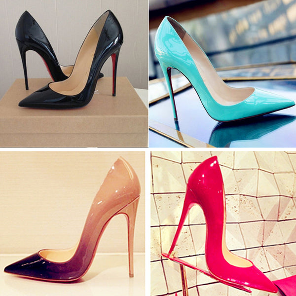 Top Quality Women Pumps Cow Muscle Red Bottom High Heels Sexy Pointed Toe Red Sole Wedding Shoes Size 12 heels Plus Size 34-46
