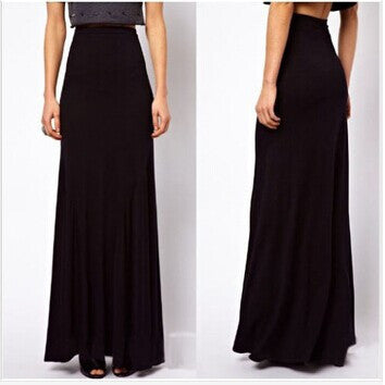 d3de95b053d New Fashion Brand Large Plus Size High Waist Maxi Cotton Full Length  Stretchy Skirt Long Maxi
