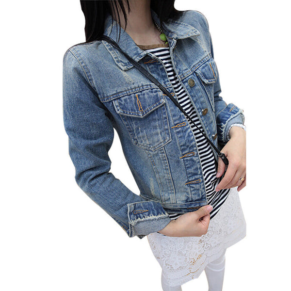 Ladies Denim Jackets Outerwear Jeans Coat Classical Jackets Women Fashion Jeans Coats Rivets Female Jackets