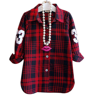 Online discount shop Australia - Fashion Children Casual Long Sleeves Plaid Shirt Blouse Baby Girls School Cotton Clothes Kids Casual Clothes 2 colors