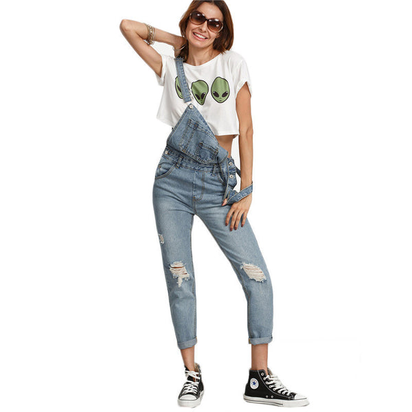 Online discount shop Australia - Dotfashion Ripped Stone Wash Denim Overall Jeans Women Cute Wear Vintage Sleeveless with Pockets Jumpsuits