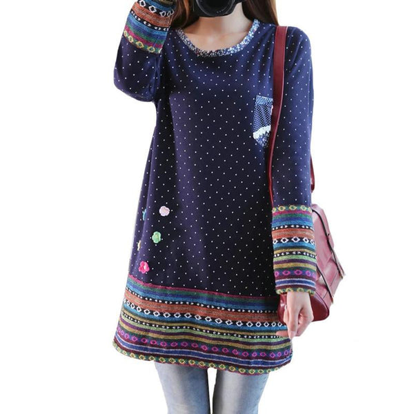 Vintage Fleece Dress O neck Long Sleeve Mori Girl Cute Dresses Polka Dot Printed Flower