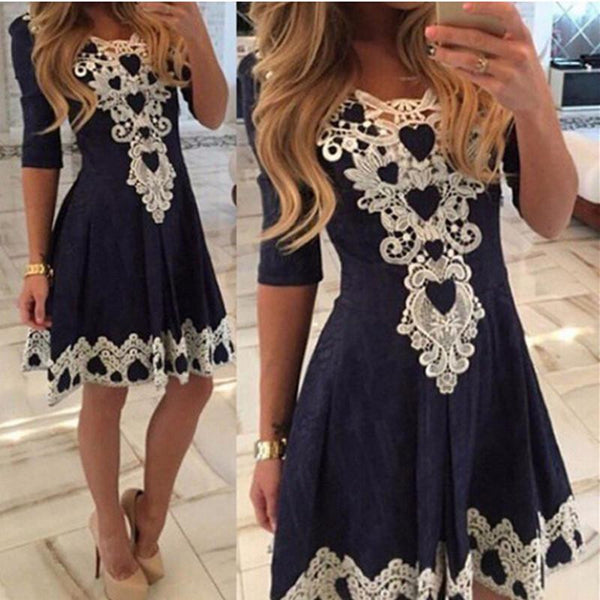 Womens Evening Party Lace Dress Fall Half Sleeve Sexy Casual Dresses Brazil