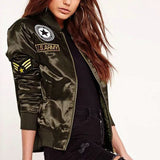 Online discount shop Australia - Ladies Flight Bomber Jackets Women Casual Short Thick Coat Ourterwear Army Green Embroidered Patch