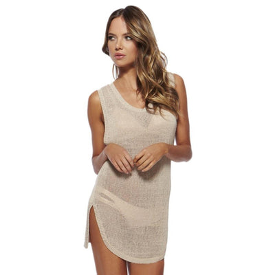 Women's Summer Fashion Sexy Hollow Crochet Scoop Neck Sleeveless Open Back Short Beach Dress