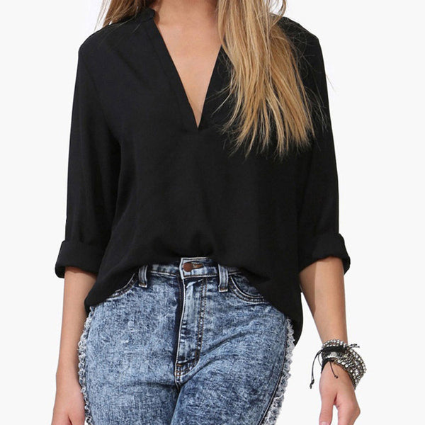 Online discount shop Australia - chiffon women long Sleeve plus size V neck blouse Casual blouses women tops Shirt