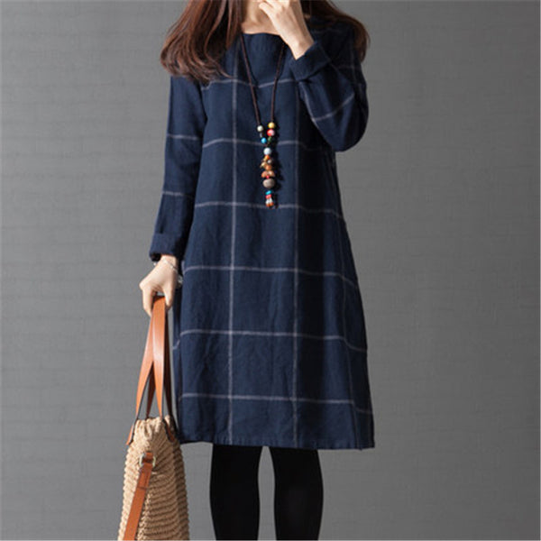 Online discount shop Australia - Long Sleeve plaid Loose Cotton Linen Women Dress Spring and Autumn Dreeses Korean style