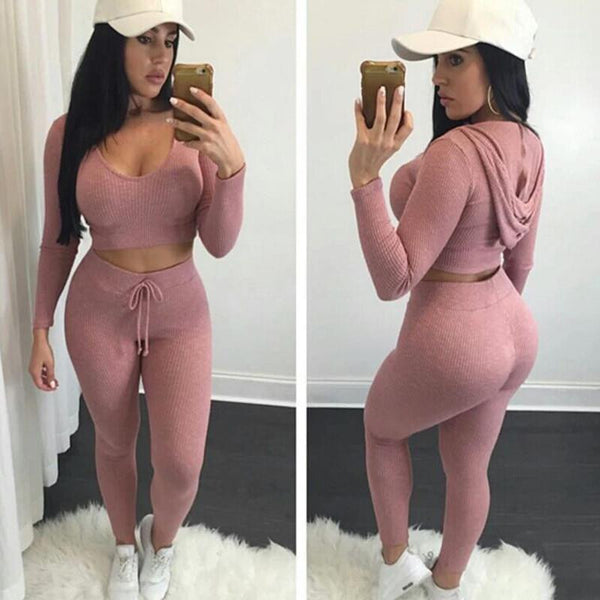 Two Pieces Set Women Knitted Rompers Long Sleeve Hoodied Sexy Crop Top Long Pants High Quality Cotton Jumpsuit