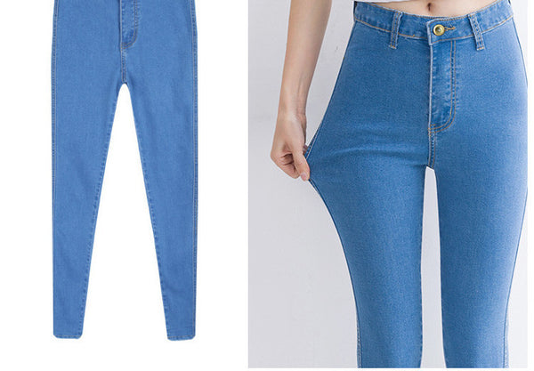 Online discount shop Australia - high Elastic Slim Denim Pencil Jeans Long Women Jeans 7 Sizes Pencil Pants Trousers Skinny high waist jeans Woman