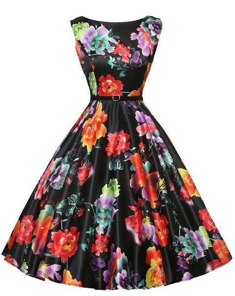 Summer Sexy Women's Vintage Floral Rockabilly Tutu Pinup Sleeveless Bodycon Evening Party Clubwear Formal Dress Plus Size