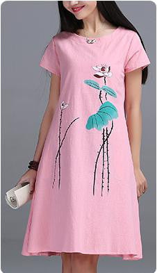 Womens Short sleeve Long Dress High Ink Printing cotton linen Vintage Dress E610