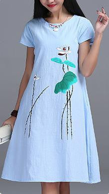 Womens Short sleeve Long Dress High Quality Ink Printing cotton linen Vintage Dress E610