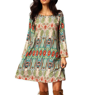 Summer Women Lady Boho Mini Dress Floral Print Party Beach Dress V-Back Short Dress