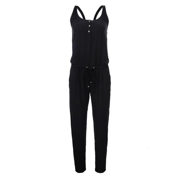 Online discount shop Australia - GLO-STORY Brand Elegant Womens Rompers Jumpsuit Casual Solid Bodysuit Sleeveless Crew Neck Long Playsuits Plus Size