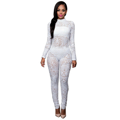 Online discount shop Australia - High-end Custom Black/White/Golden Sequin Jumpsuit Fall Womens Long-sleeve High Stretch Party Club Bodycon Rompers